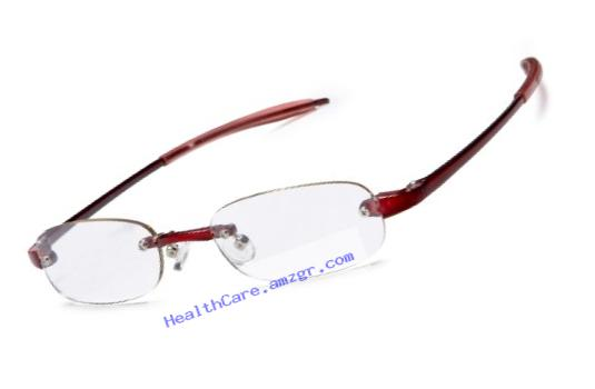 Visualites 205 Oval Reading Glasses,Red Frame/Clear Lens,2.50 Strength,48 mm