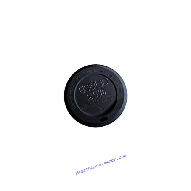 Eco-Products - EcoLid 25% Recycled Content Black Hot Cup Lid - Fits 10-20oz Hot Cups - EP-HL16-BR (10 Packs of 100)