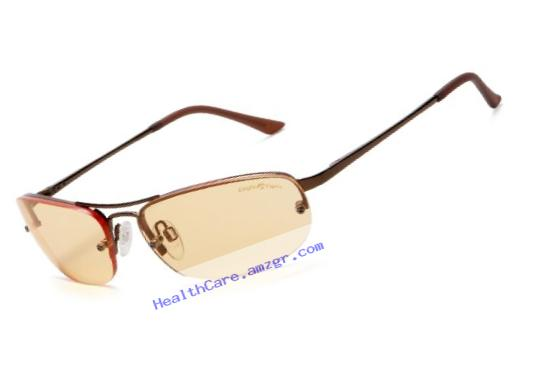 Eagle Eyes Solare Computer Glasses - StimuLight Non-Polorized Semi-Rimless Aviator Glasses, Copper Frame, Light Orange Lens