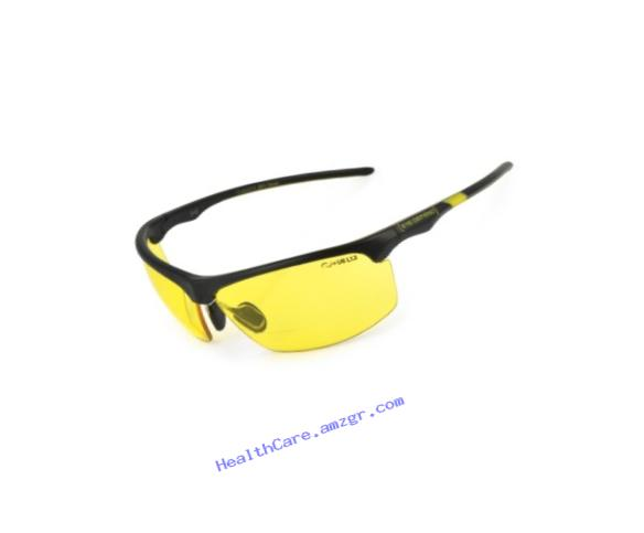 Optx 20/20 Eyedefend Outrigger Safety Reader with bifocal, Black with yellow lens, +250, ANSI Z87.1-2010