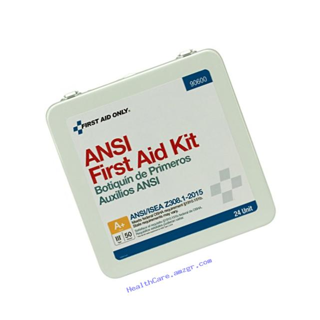 First Aid Only 90600 ANSI 2015 Compliant 24 Unit Class A+ First Aid Kit, Metal, Weatherproof