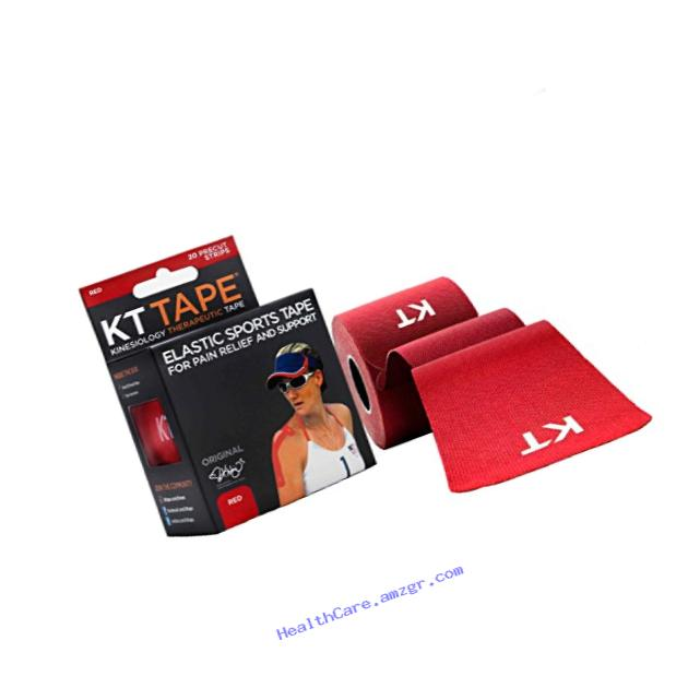 KT TAPE Original Cotton Elastic Kinesiology Therapeutic Sports Tape, 20 Precut 10 Inch Strips, Breathable, Free Videos, Pro & Olympic Choice, Red