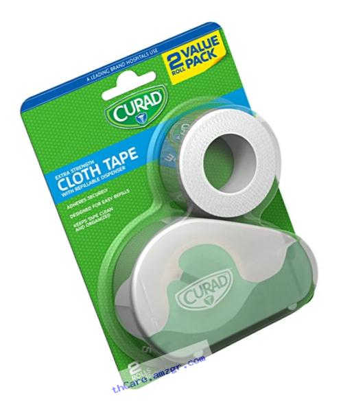 Curad Cloth Tape with Refillable Dispenser, Bonus Roll, 2 Count
