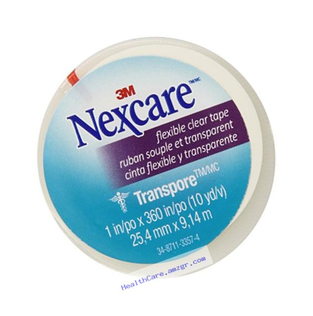 Nexcare Transpore Clear 1-Inch Wide First Aid Tape, 10-Yard Roll (Pack of 9)