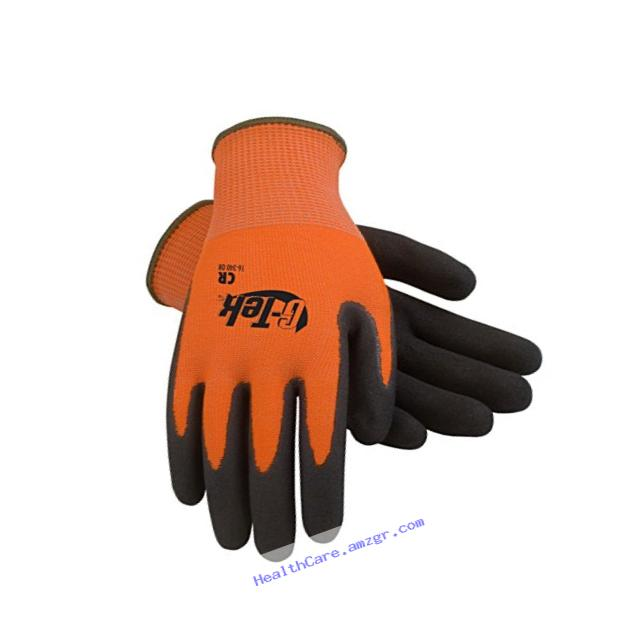 G-Tek CR 16-340OR/XL Hi-Vis Seamless Knit HPPE/Glass Glove with Double-Dipped Nitrile Coated Micro-Surface Grip on Palm and Fingers