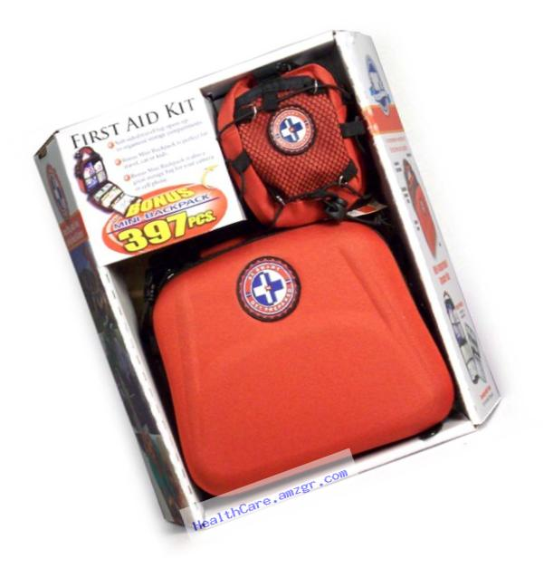 Total Resources International Be Smart Get Prepared First Aid Kit with Bonus Mini-Backpack (397-Piece)