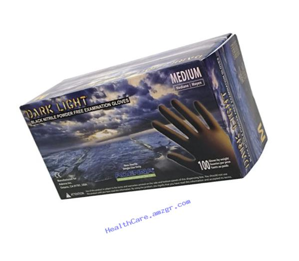 Adenna Dark Light 9 mil Nitrile Powder Free Exam Gloves (Black, Medium) Box of 100