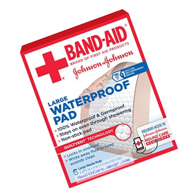 Band-Aid Brand of First Aid Products Waterproof Pads, for Minor Cut and Scrapes, 2.9 by 4 Inches, 6 Count (Pack of 6)